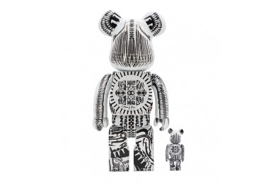 Medicom Be@rbrick 100% 400% H.R. Giger White Chrome 2-PACK